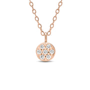14K Solid Gold Diamond Cluster Pave Disc Necklace Rose Gold