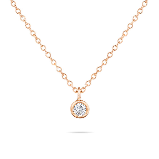 14K Solid Gold Diamond Solitaire Dangling Necklace Rose Gold