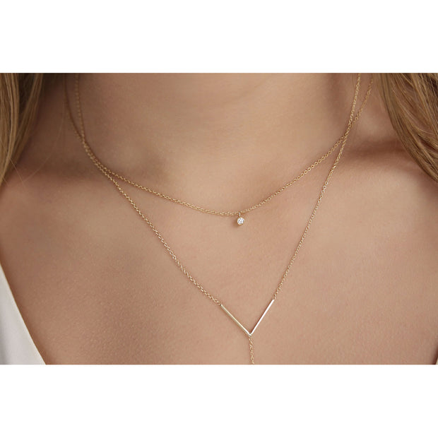 14K Solid Gold Diamond Solitaire Dangling Necklace Model 2