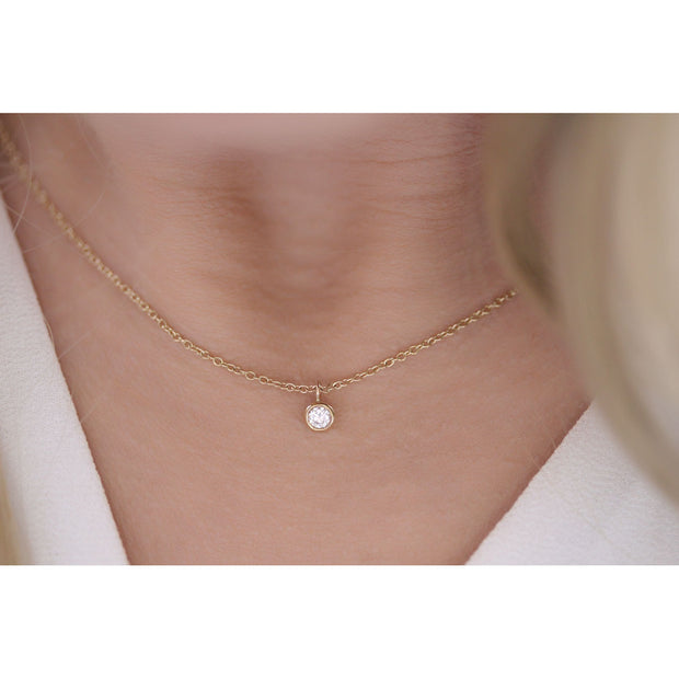 14K Solid Gold Diamond Solitaire Dangling Necklace Model 1