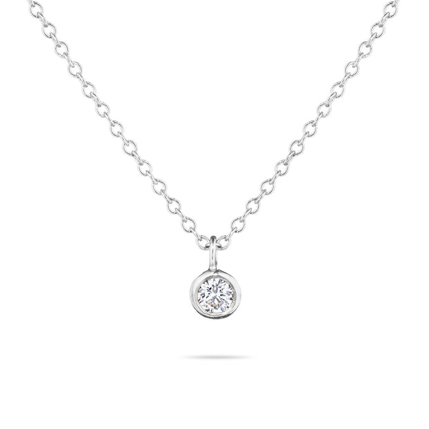 14K Solid Gold Diamond Solitaire Dangling Necklace White Gold
