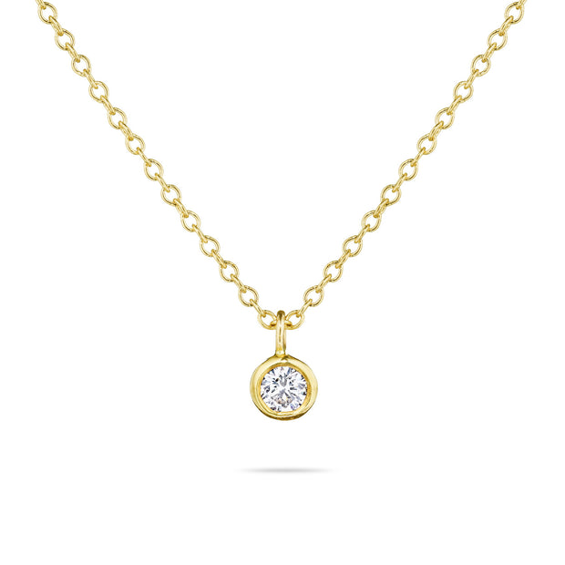 14K Solid Gold Diamond Solitaire Dangling Necklace