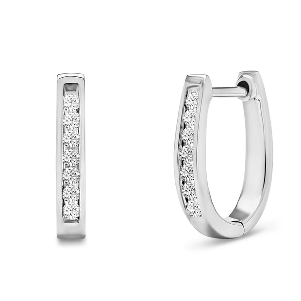 14K Solid White Gold Channel Round Diamond Hoop Earrings