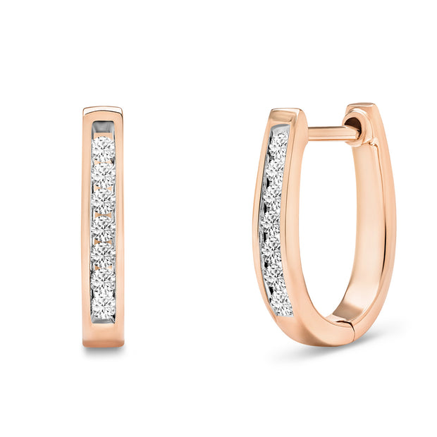 14K Solid Rose Gold Channel Round Diamond Hoop Earrings