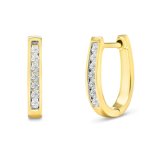 14K Solid Gold Channel Round Diamond Hoop Earrings