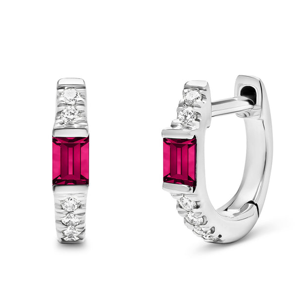14K Solid White Gold Natural Ruby Baguette Pave Diamond Hoops