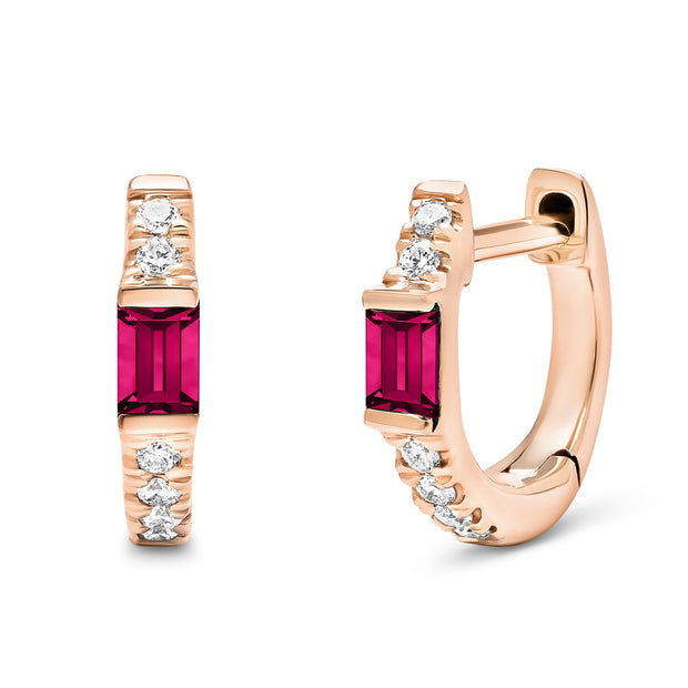14K Solid Rose Gold Natural Ruby Baguette Pave Diamond Hoops