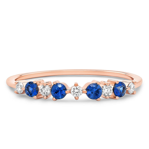 14K Solid Rose Gold Sapphire Diamond Alternating Cluster Anniversary Band