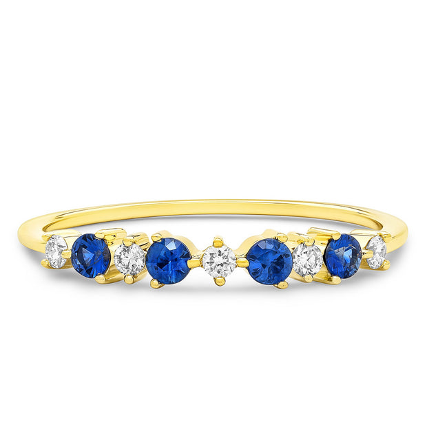 14K Solid Gold Sapphire Diamond Alternating Cluster Anniversary Band