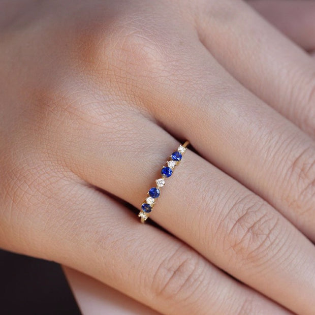 14K Solid Gold Sapphire Diamond Alternating Cluster Anniversary Band Model 1