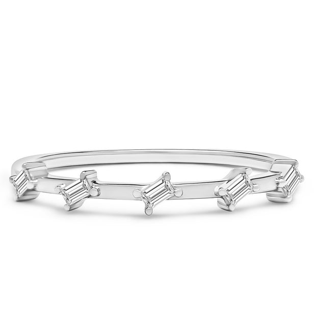 14K Solid White Gold Slanted Baguette Half Eternity Band