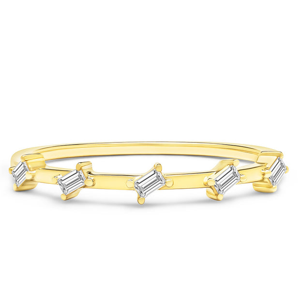 14K Solid Gold Slanted Baguette Half Eternity Band