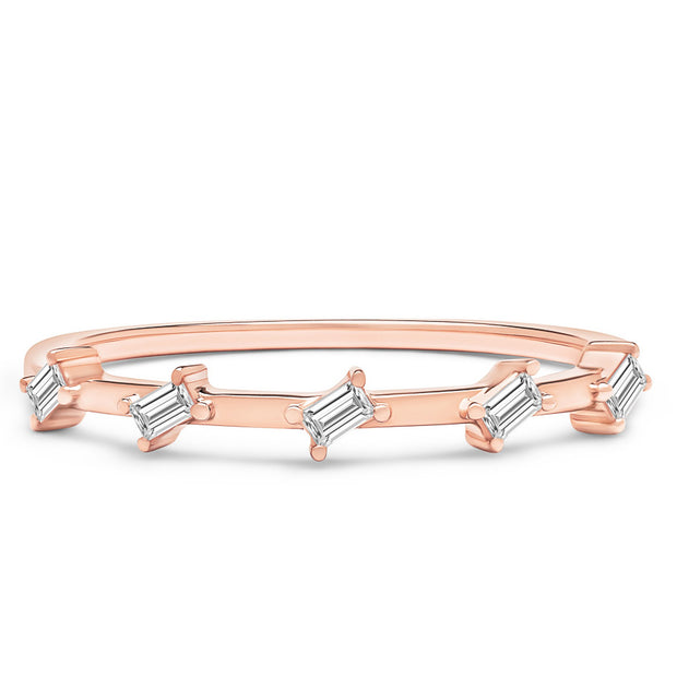 14K Solid Rose Gold Slanted Baguette Half Eternity Band