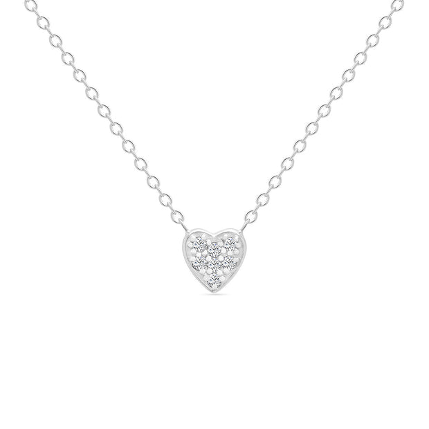 14K Solid White Gold Small Sweetheart Necklace