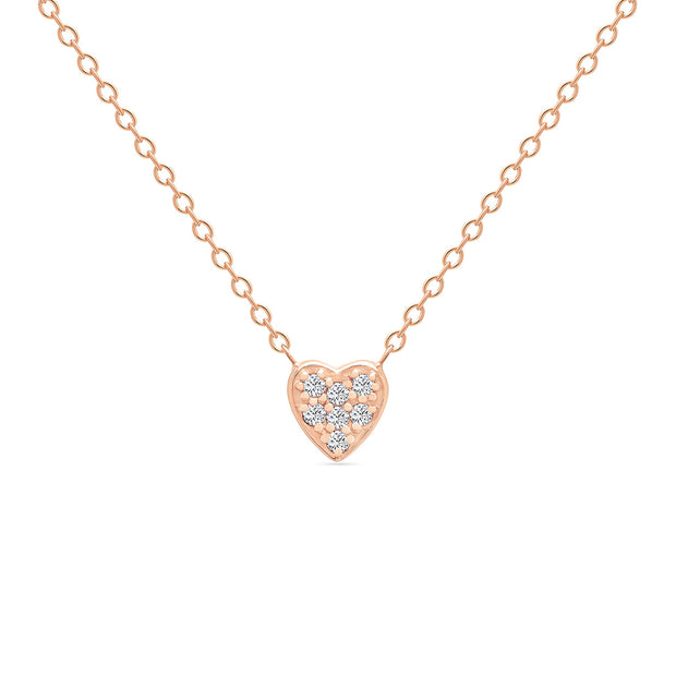 14K Solid Rose Gold Small Sweetheart Necklace