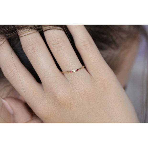 14K Solid Gold Minimalist Baguette Diamond Ruby Three Stone Ring Model 3