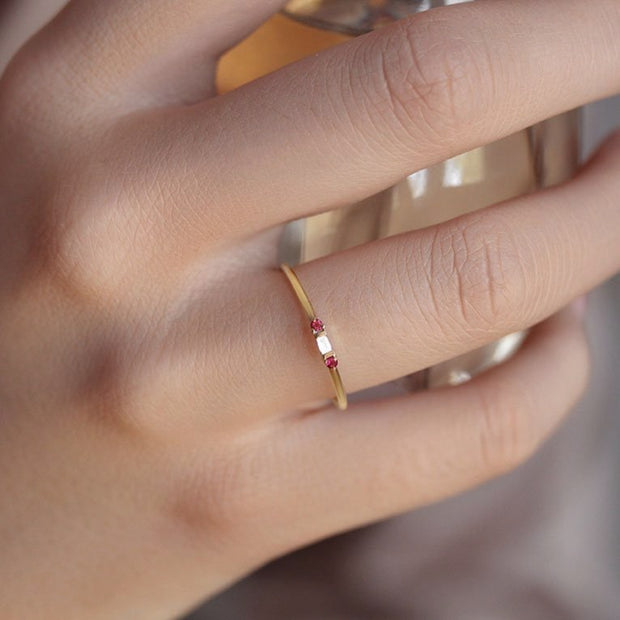 14K Solid Gold Minimalist Baguette Diamond Ruby Three Stone Ring Model
