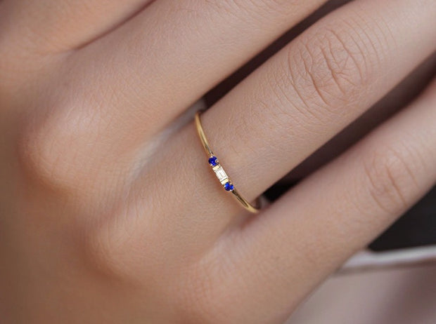 14K Solid Gold Minimalist Baguette Diamond Sapphire Three Stone Ring Model 1