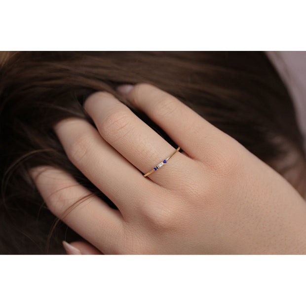 14K Solid Gold Minimalist Baguette Diamond Sapphire Three Stone Ring Model 2