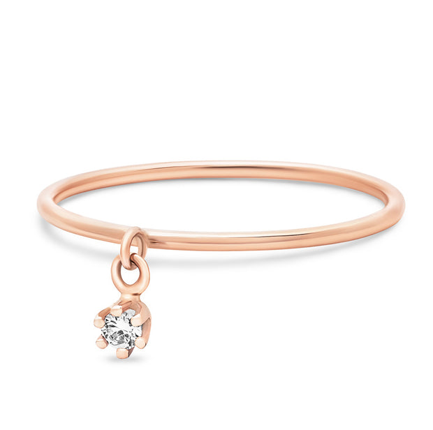 14K Solid Rose Gold Single Dangling Diamond Six Prong Stackable Ring