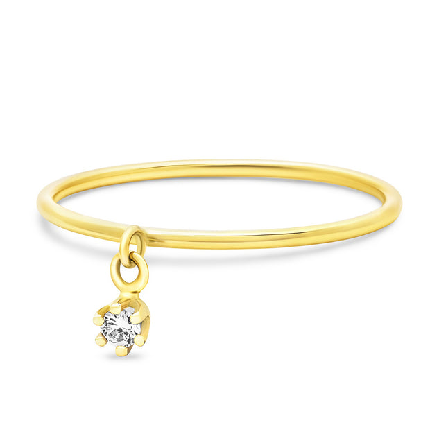 14K Solid Gold Single Dangling Diamond Six Prong Stackable Ring