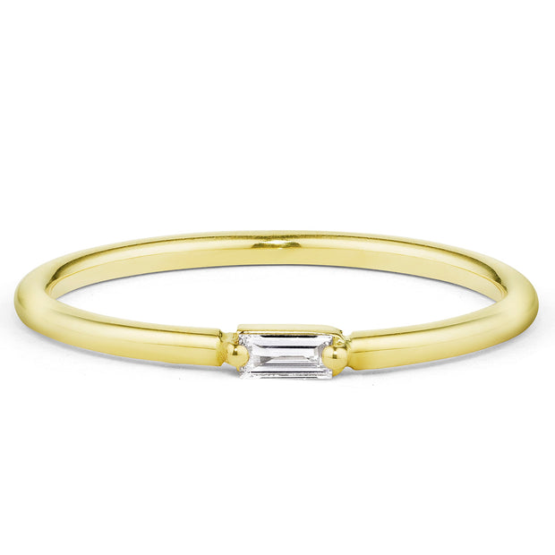 14K Solid Gold Single Baguette Diamond Staking Ring