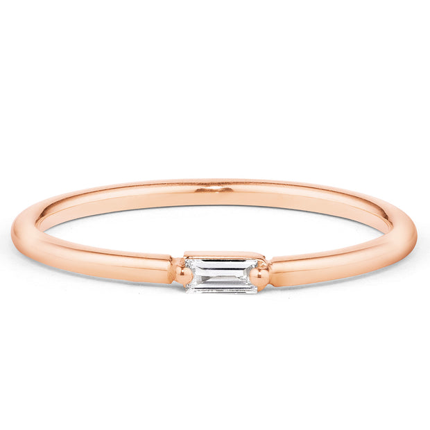 14K Solid Gold Single Baguette Diamond Staking Ring,  Rose Gold