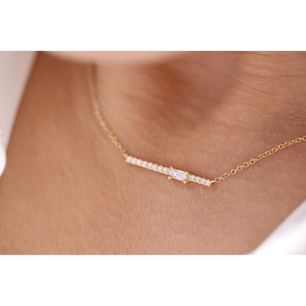 14K Solid Gold Single Baguette Diamond Pave Bar Necklace Model 2