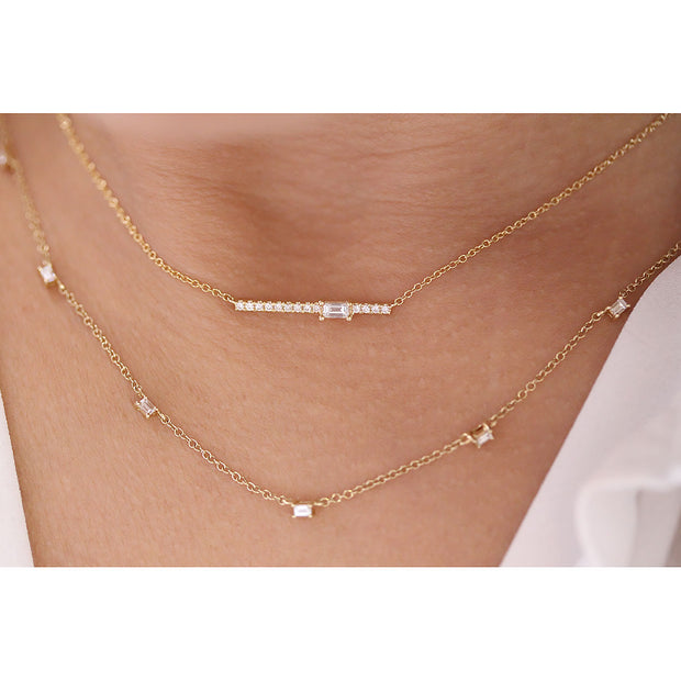 14K Solid Gold Single Baguette Diamond Pave Bar Necklace Model 3