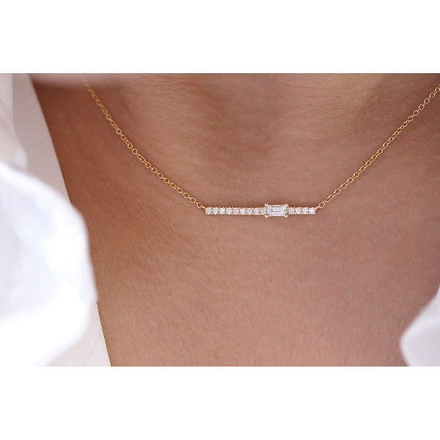 14K Solid Gold Single Baguette Diamond Pave Bar Necklace Model 1
