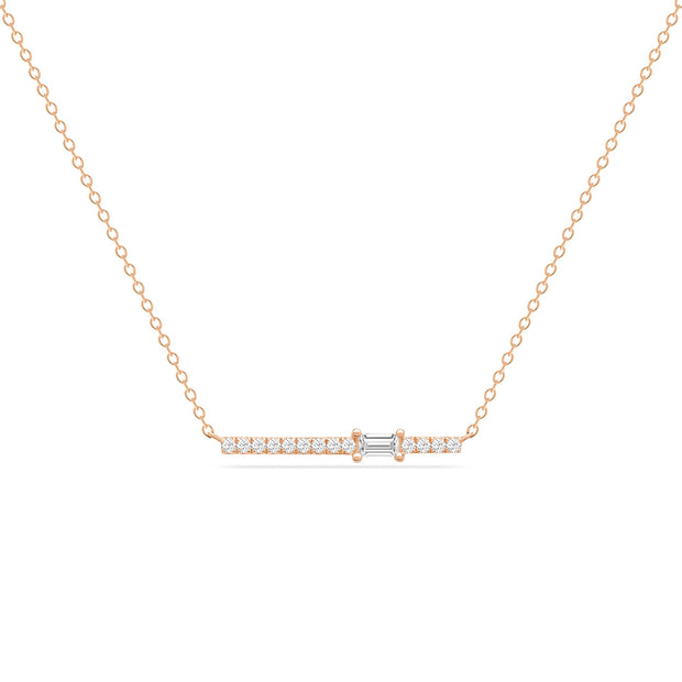 14K Solid Rose Gold Single Baguette Diamond Pave Bar Necklace