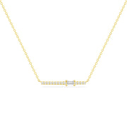 14K Solid Gold Single Baguette Diamond Pave Bar Necklace