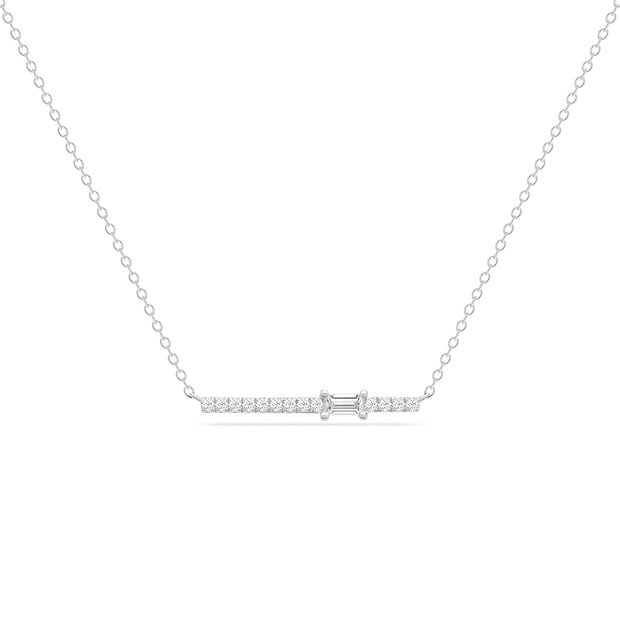 14K Solid White Gold Single Baguette Diamond Pave Bar Necklace