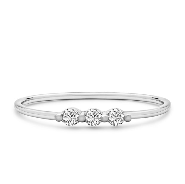 14K Solid White Gold Single Prong Three Stone Stackable Ring