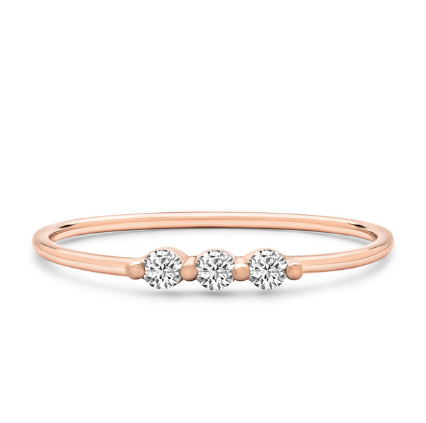 14K Solid Rose Gold Single Prong Three Stone Stackable Ring
