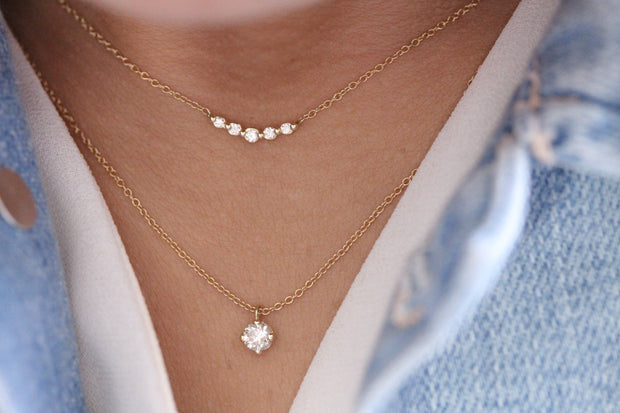14K Solid Gold Four Prong Sliding Bail Solitaire Diamond Necklace