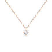 14K Solid Rose Gold Four Prong Sliding Bail Solitaire Diamond Necklace