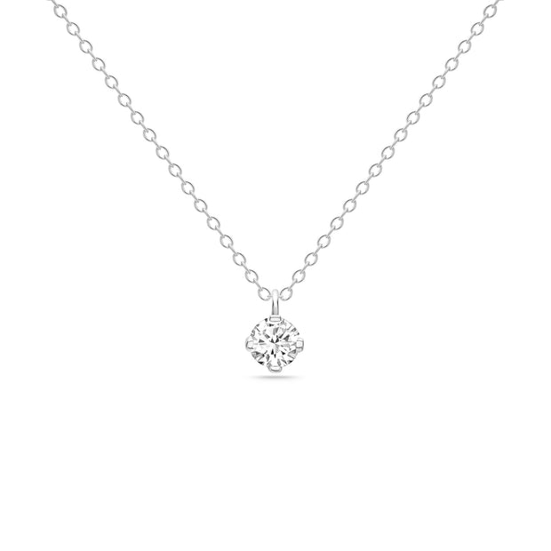 14K Solid White Gold Four Prong Sliding Bail Solitaire Diamond Necklace