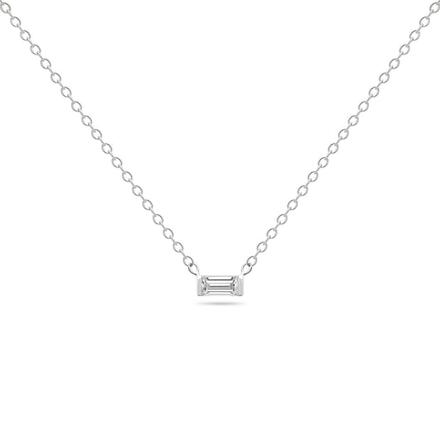 14K Solid White Gold Diamond Baguette Solitaire Tension Necklace