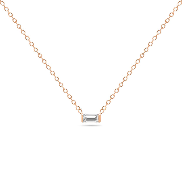 14K Solid Rose Gold Diamond Baguette Solitaire Tension Necklace
