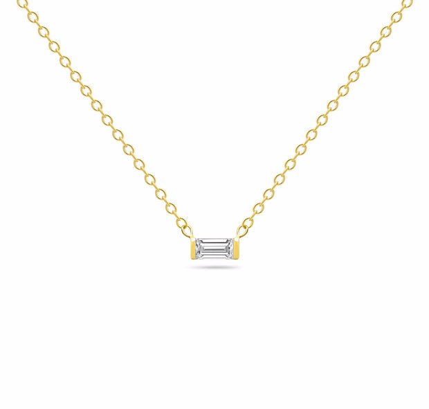 14K Solid Gold Diamond Baguette Solitaire Tension Necklace