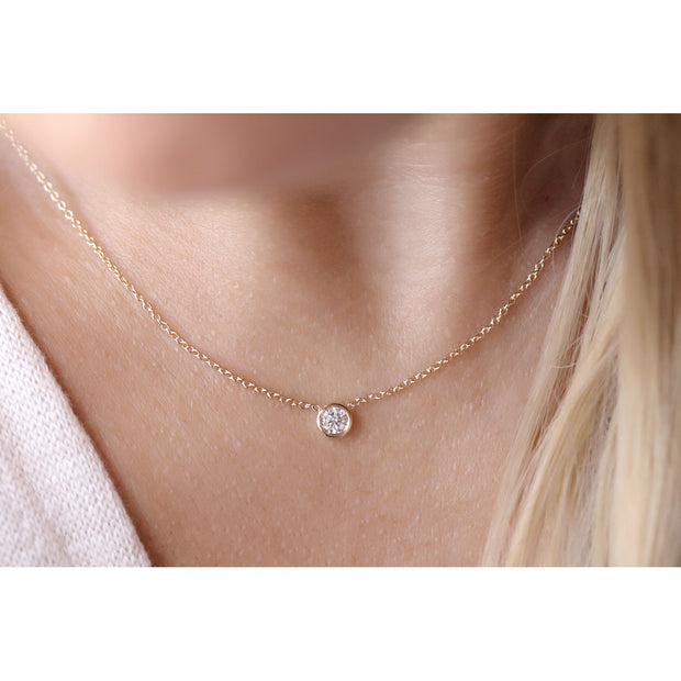 14K Solid Gold Diamond Solitaire Round Bezel Necklace Model 4