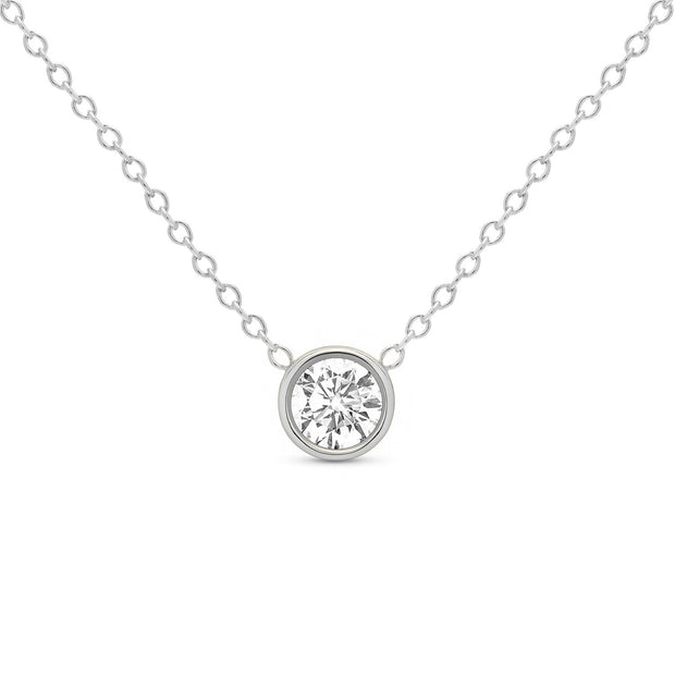 14K Solid Gold Diamond Solitaire Round Bezel Necklace White Gold