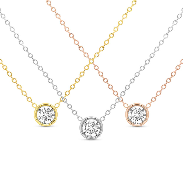 14K Solid Gold Diamond Solitaire Round Bezel Necklace All Three