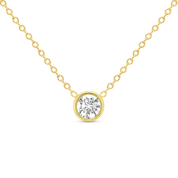 14K Solid Gold Diamond Solitaire Round Bezel Necklace