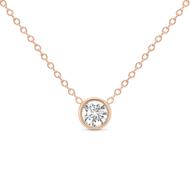 14K Solid Gold Diamond Solitaire Round Bezel Necklace Rose Gold