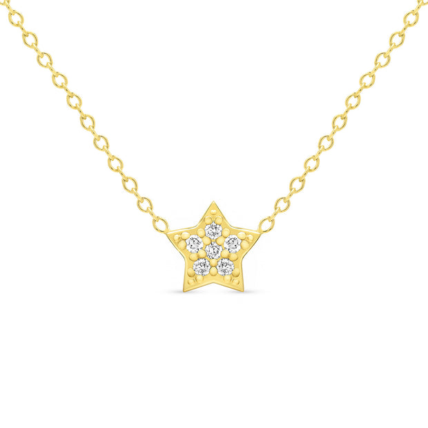 14K Solid Gold Diamond Star Pave Necklace