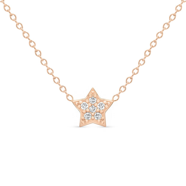 14K Solid Gold Diamond Star Pave Necklace Rose Gold