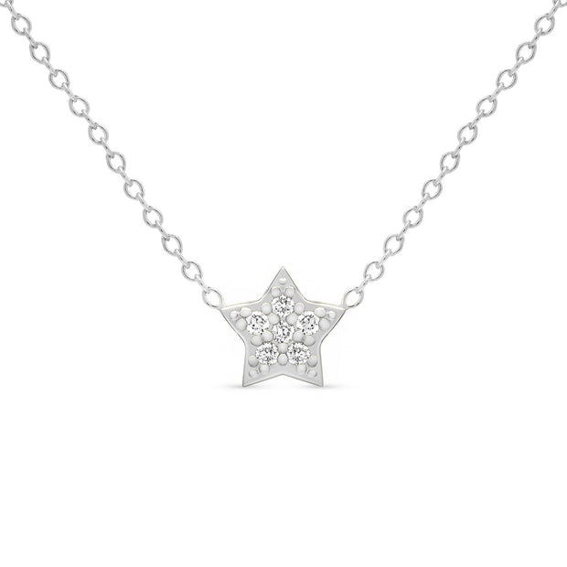 14K Solid Gold Diamond Star Pave Necklace White Gold