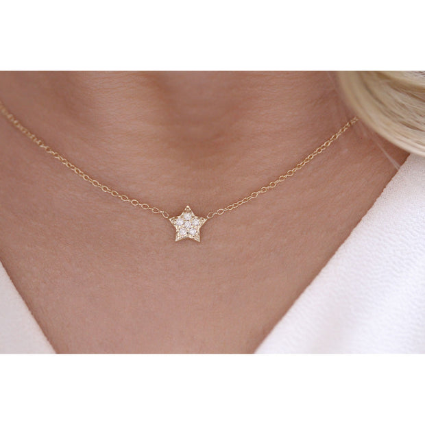 14K Solid Gold Diamond Star Pave Necklace Model 4